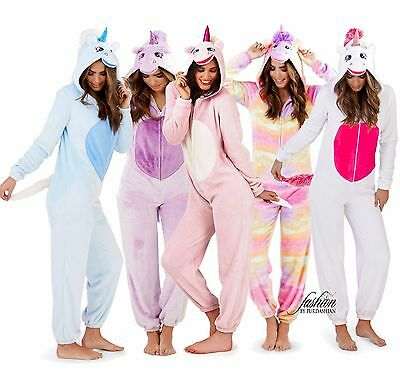 1onesie Womens Girls Hooded Unicorn All In One Fleece Jumpsuit Pyjamas Costume