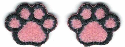 1.6cm x 2.2cm Lot De 2 Rose Furry Cartoon Chat Chien Patte Brodé Patchs
