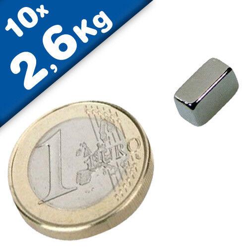 10 x Quadermagnet 2,6 kg Magnetquader  10 x   5 x  8mm Neodym N45 Nickel