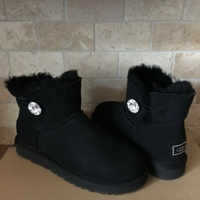 UGG Mini Bailey Button Bling Women's Boots Black | Boots
