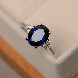 Natural-2-15-Ct-Blue-Sapphire-Diamond-Engagement-Ring-14K-White-Gold-Size-M-N-P
