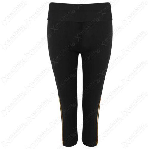 Damen Zwillings Seitenstreifen Capri 3//4 Sport Leggings Fitness Yoga Kurz Hose