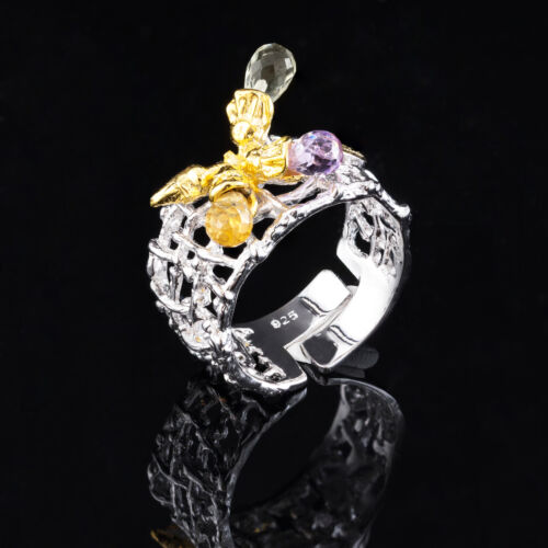 100/% NATURAL 6X4MM AMETHYST /& CITRINE HANDMADE 2-TONE SILVER 925 RING SIZE 9