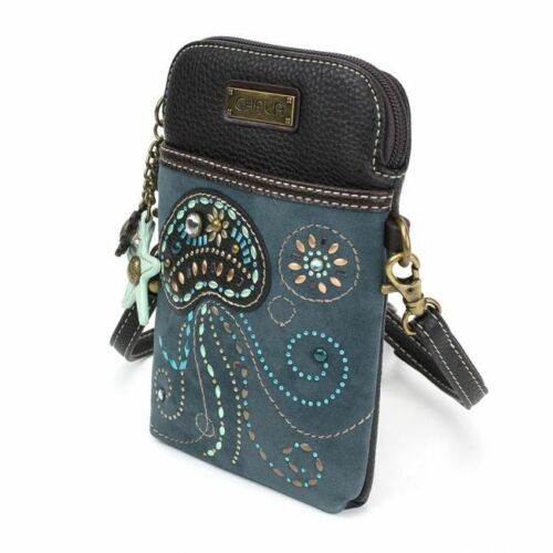 Chala Cell Phone Purse Crossbody Pleather Converts Blue Dazzled Jelly Fish gift