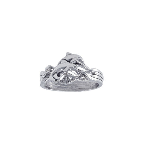 Shell two Dolphin Puzzle Sterling Silver Ring by Peter Stone Unique Fine Jewelry