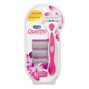 Schick-Quattro-For-Women-4-Blade-Razor-1-Handle-amp-4-Cartridges-amp-1-Razor-Holder