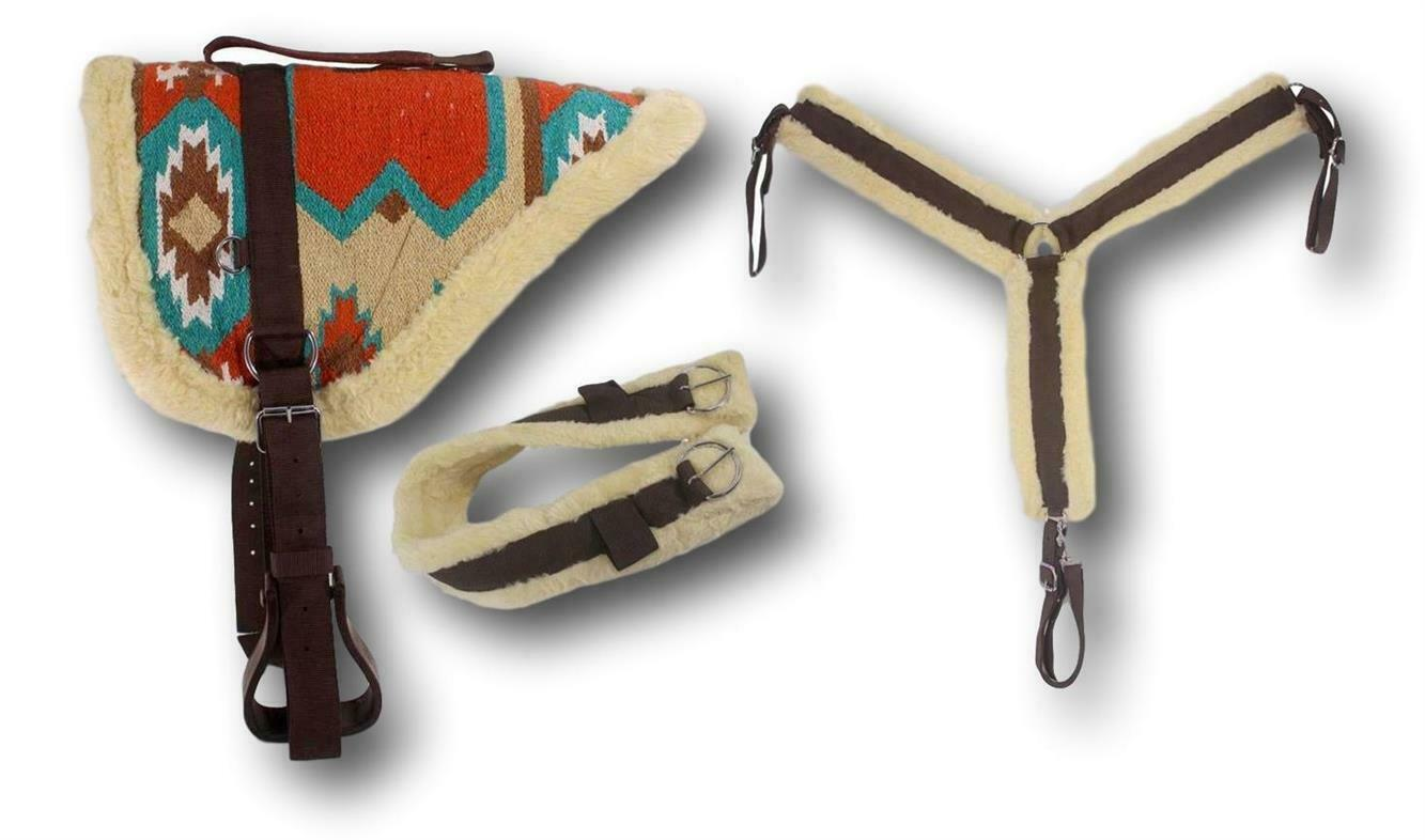 D.A. Brand Teal Rust Navajo Bareback Pad w  Girth  Breast Collar Full Horse Tack