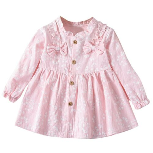 Infant Baby Girls Long Sleeve Solid Color Ruched Floral Flower Bow Dress Clothes