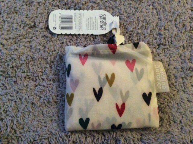 BNWT New Caroline Gardner Hearts Eco Pocket Pouch - Foldaway Shopper Bag