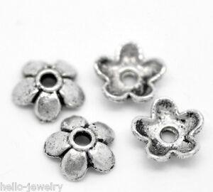 300-Neu-aelter-Silber-Blume-Perlen-Beads-Ende-Kappen-6x6mm-B19897