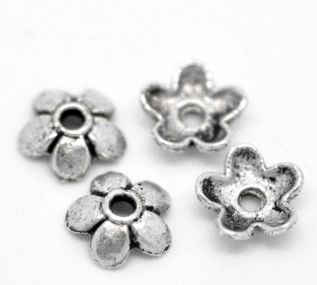 300 Neu älter Silber Blume Perlen Beads Ende Kappen 6x6mm B19897