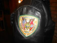 Vtg Sheriff Tenn. Shelby Black Police Leather Motorcycle Biker Jacket Small /44