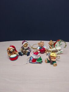Lot 6 Vintage Assorted Teddy Bears Mouse Christmas Tree Ornaments Holiday Decor