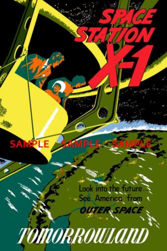 "8.5/"" x 11/"" Vintage Disneyland Space Station x1-1955 Poster"