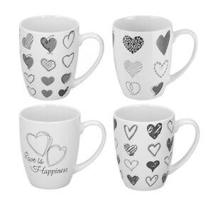 Set Of 4 Coffee Mugs Tea Cups Porcelain Latte Hot Drink Pattern Grey Heart 366ml
