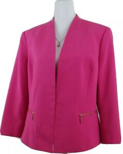 Kasper-Women-039-s-Size-14-Hot-Pink-Open-Front-Blazer-Jacket-Office-Wear-Fully-Lined