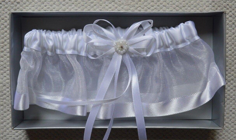 BRIDAL WHITE LACE GARTER WITH RIBBON ROSE DIAMONTE CRYSTAL GEM WEDDING BRIDAL