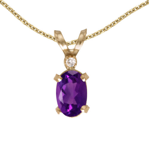 """Details about  /14k Yellow Gold Oval Amethyst And Diamond Filigree Pendant with 18/"""" Chain"""