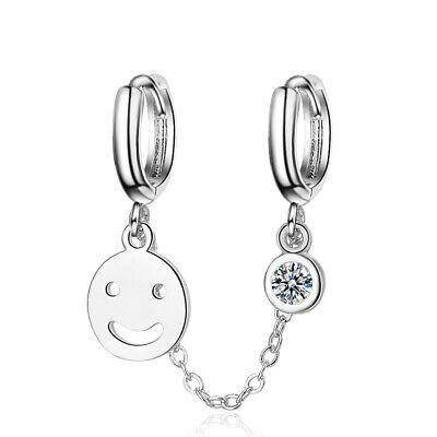 Ladies 925 Sterling Silver AAA Zircon Cute Smiley Double ...