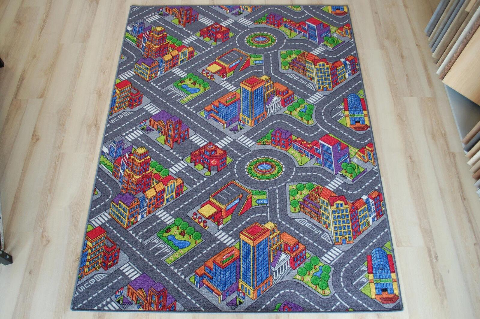 Straßenteppich Kinder Spielteppich Big City Großstadt Citylight