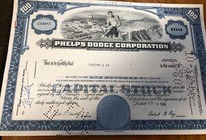 Vintage Bond Share Certificate 1966 Phelps Dodge Corporation Emphemera Document