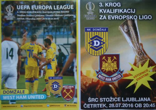 mint off. VIP Programme & Flyer UEL 201617 NK Domzale West Ham United