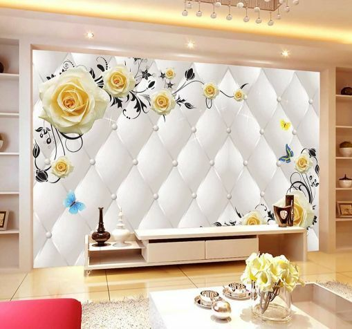 3D Gelbe Rosen, Blätter 66 Fototapeten Wandbild Fototapete BildTapete Familie DE