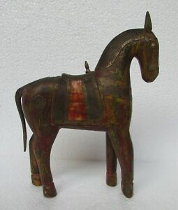 Vintage Old Hand Carved Wooden Brass Bone Fitted Horse Statue Collectible Ebay