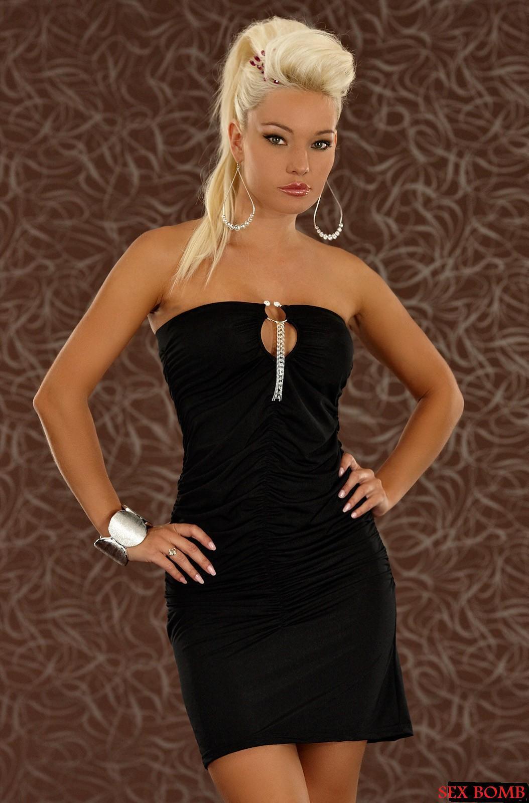 Sexy Abito Tubino Vestito black con Decorazione Strass taglia unica 38-44 GLAMOUR