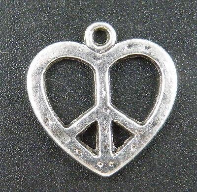 60pcs Tibetan Silver Heart's Peace Sign Charms 19x18mm 14196