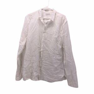 AllSaints-Mens-Button-Front-Shirt-White-Cuffed-Long-Sleeve-Point-Collar-XL