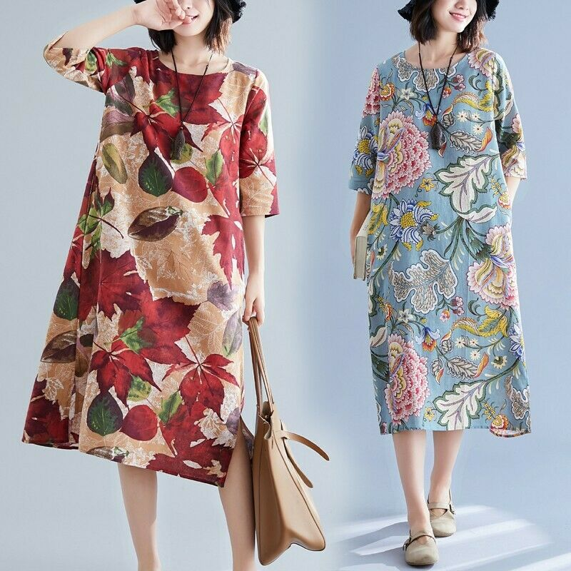 Women Cotton Linen Maxi Long Dress Loose Floral Print Ethnic Style Crewneck Robe