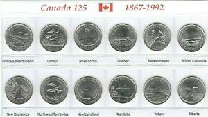 Canada-1992-125th-Anniversary-Provincial-BU-UNC-Commemorative-12-Coin-Set