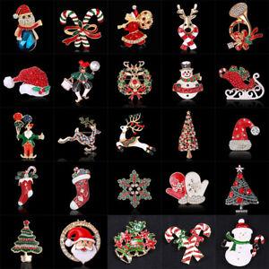 2018-Christmas-Crystal-Tree-Deer-Bell-Angel-Snowman-Brooch-Pin-Xmas-Jewelry-Gift