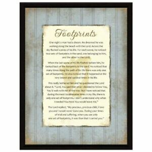 NEW-Dexsa-Footprints-Wood-Frame-Plaque-with-Easel-DX8525