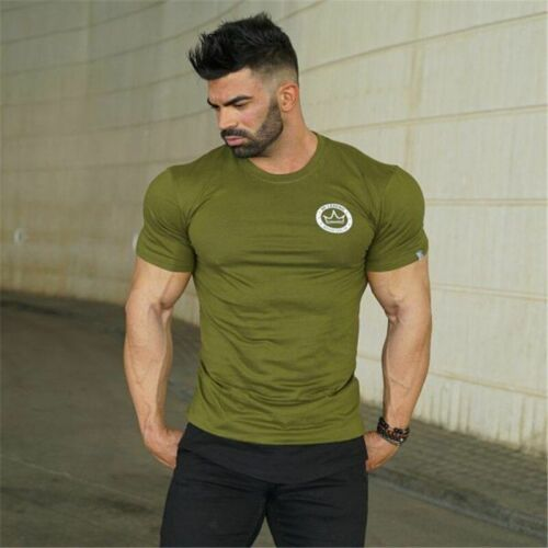 Men Sports Compression T-Shirt Fitness Shirt Tights Cotton O-Neck Quick Dry Tee