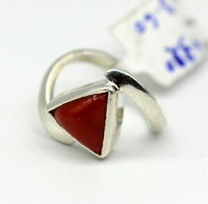 GENUINE NATURAL DEEP RED CORAL 3.60 Ct SET IN 925 SILVER WOMEN'S RING US SIZE :7