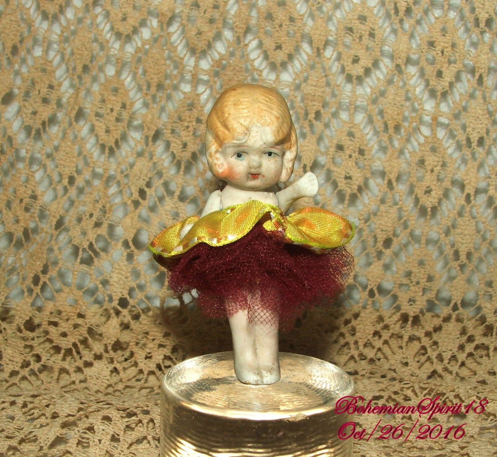 ANTIQUE JAPAN BISQUE FROZEN CHARLOTTE JOINTED ARMS MINIATURE 3'' GIRL DOLL