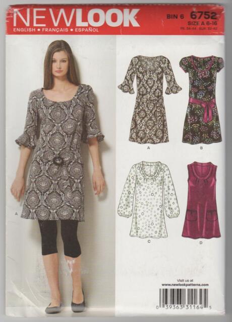 LOOK 6752 Sewing Pattern Shift Dress Round Neckline Sz 6 - 16 Uncut ...