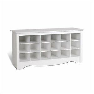 Prepac Shoe Storage Cubbie Bench White
