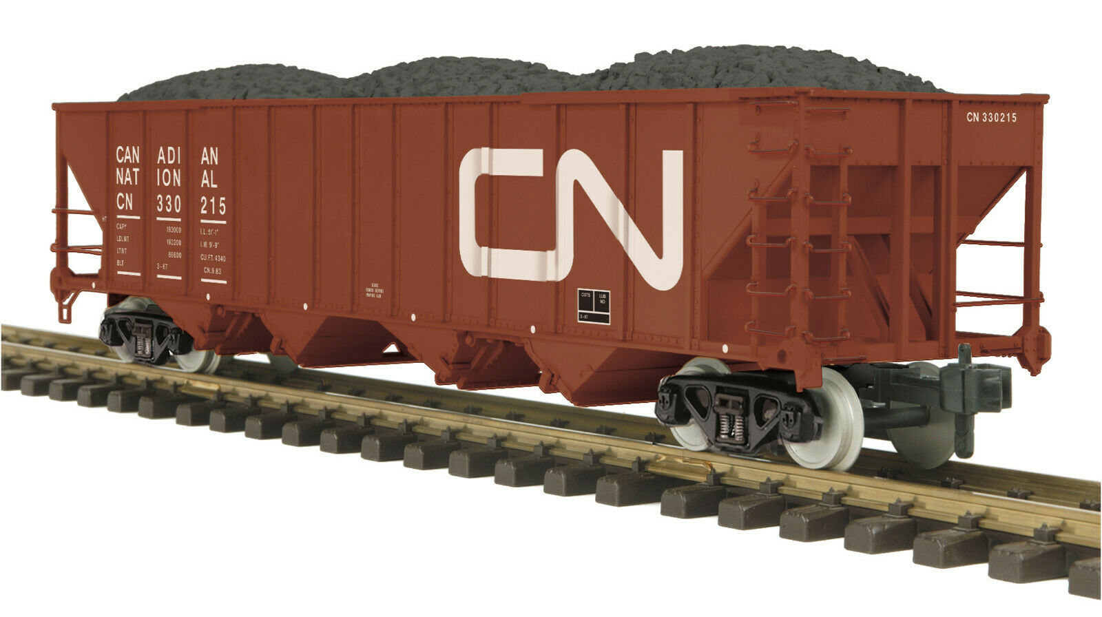 MTH One Gauge Canadian National 4 Bay Hopper Car w Stainless Wheels 70-75069
