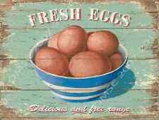 Fresh Eggs Metal Sign, Rustic Farmers Market Kitchen Decor