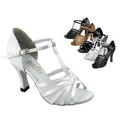 "16612 Brown  Satin Ballroom Salsa Latin Dance Shoes heel 2.5/"" Sz 8"