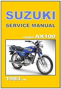 suzuki workshop manual ax100 1983 1984 1985 1986 1987 1988 1989 rh ebay com  suzuki max 100 service manual