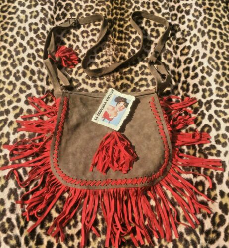 FRENCH 1960s / 1970s WOMAN SUEDE BAG & RED FRINGES