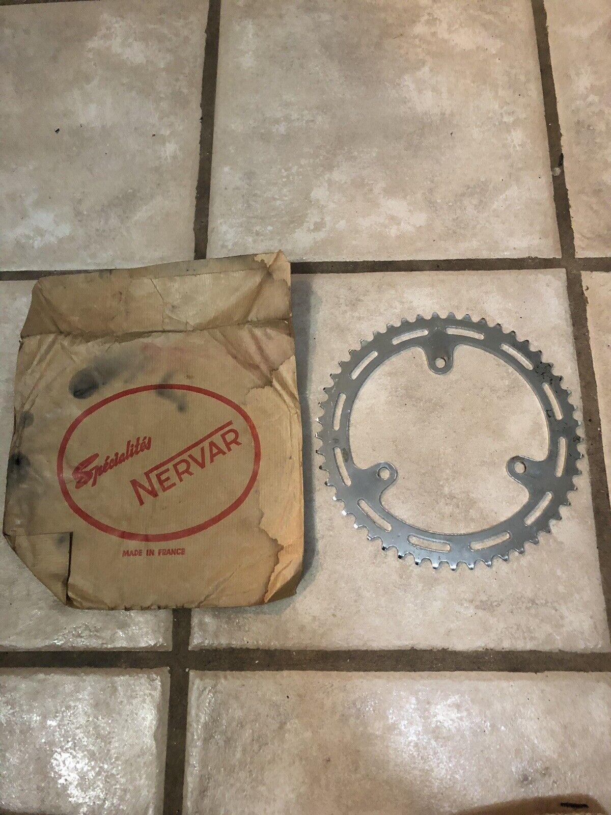 Rare Vintage NOS Nervar 49t  Chrome Road Bike Chain Ring-For 3 Arm Cranks-France
