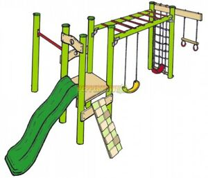 Details About Diy Playground Kit Ninja 3 Monkey Bar Slide Trapeze Turn Climbing Net Swings New