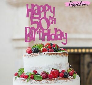 Image Is Loading LissieLou Happy 50th Birthday Cake Topper Glitter Card
