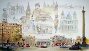 Bill-Geldart-CITY-OF-LONDON-Souvenir-Poster-Buckingham-Palace-St-Pauls-Art