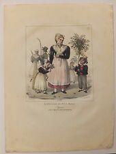 Costumes de Nice Paysans en habis de fete Lithographie XIXème par Desmaisons